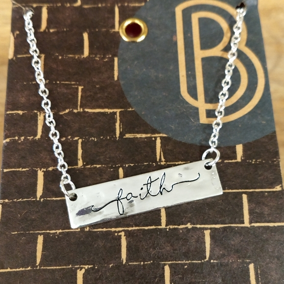 🌟3/$15🌟 Blufoundry Engraved Faith Bar Necklace